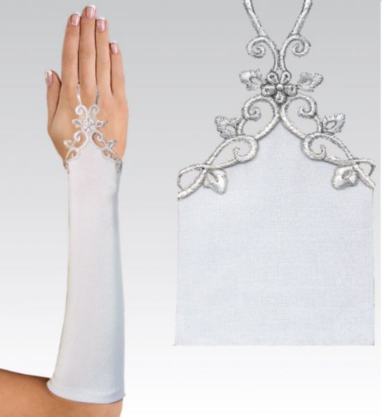 Handschuh 30 cm aus Satin (elfenbeinfarben)