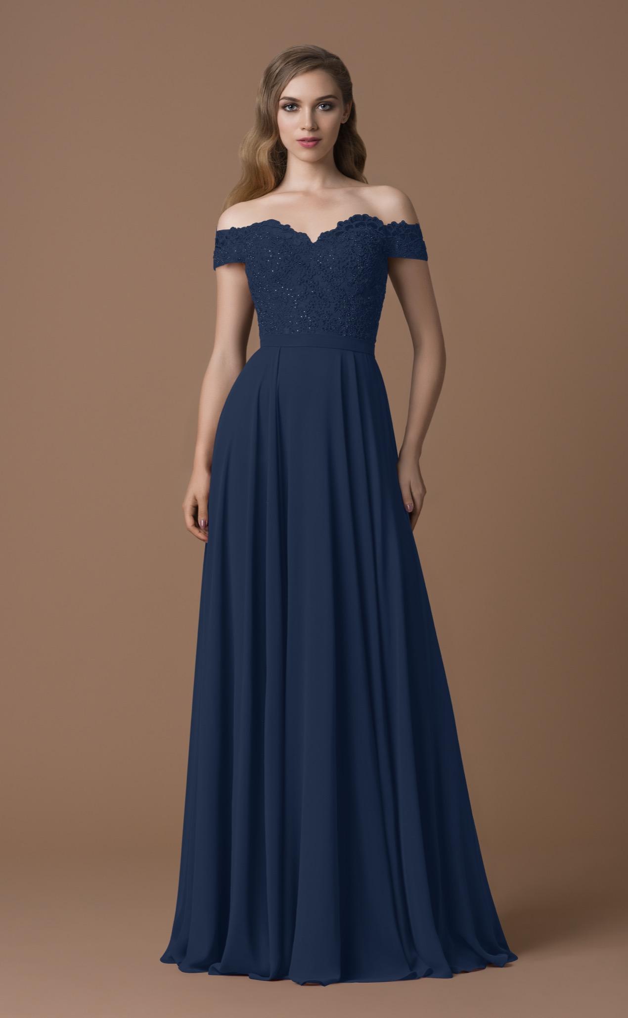 Carmen-Abendkleid dunkelblau | Samyra Fashion