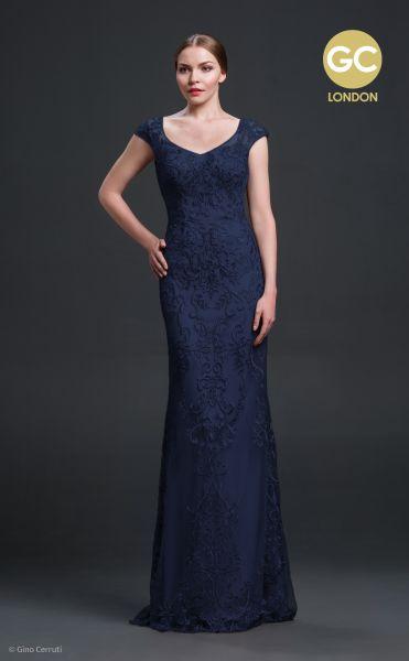 Abendkleid Gaby von Gino Cerruti (dunkelblau/ tannengrün)