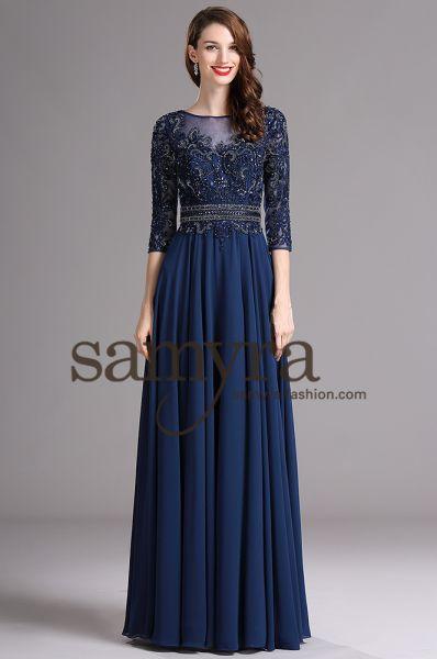 Abendkleid Carina aus Chiffon (nachtblau)