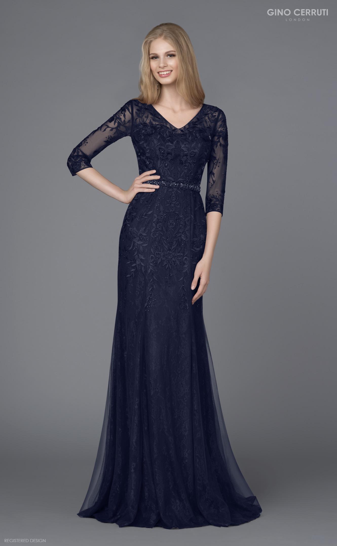 Abendkleid blau mit Ärmeln | Samyra Fashion