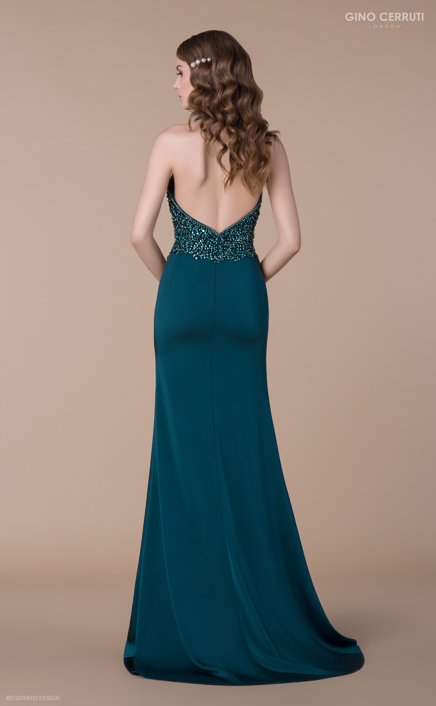 Figurbetontes Abendkleid petrolgrün | Samyra Fashion