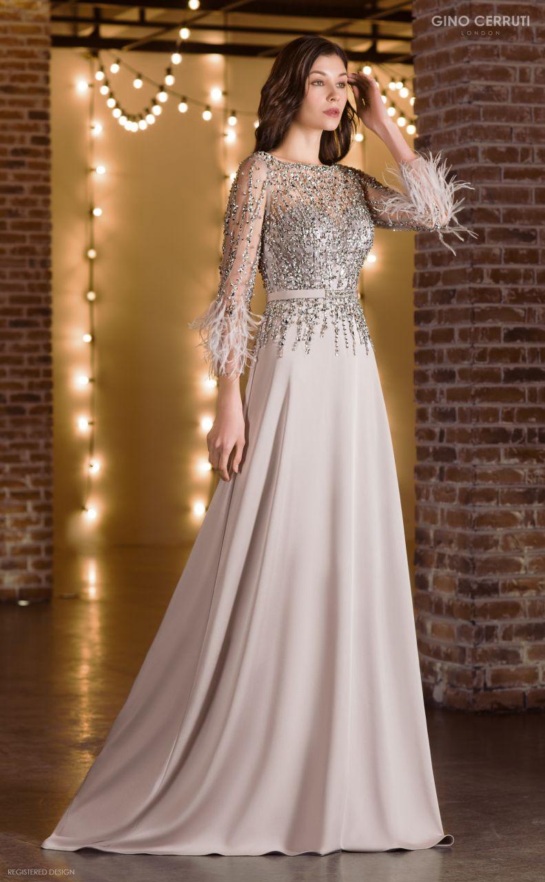 Abendkleid silberfarben mit Ärmeln  Samyra Fashion