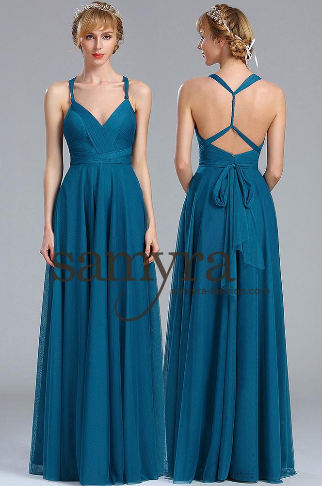 Abendkleid aus Soft Tüll petrol | Samyra Fashion