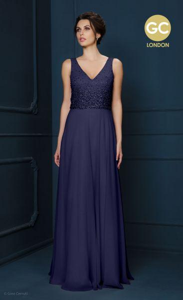 Abendkleid Florence mit V-Ausschnitt (nachtblau)