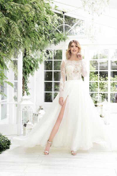 Brautkleid Liana mit Beinschlitz (elfenbeinfarben)