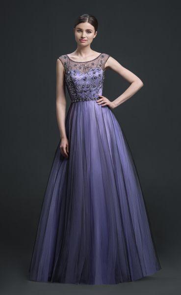 Ballkleid Merida mit Strasssteinen (violett)