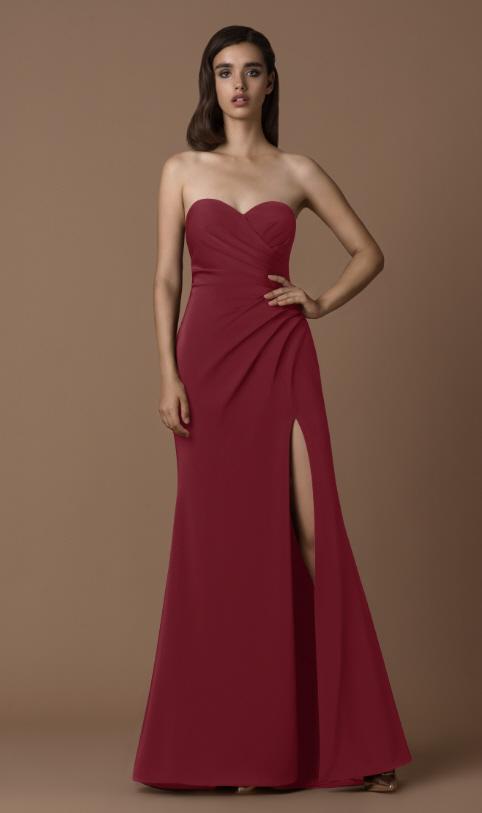 Abendkleid bordeaux mit Beinschlitz | Samyra Fashion