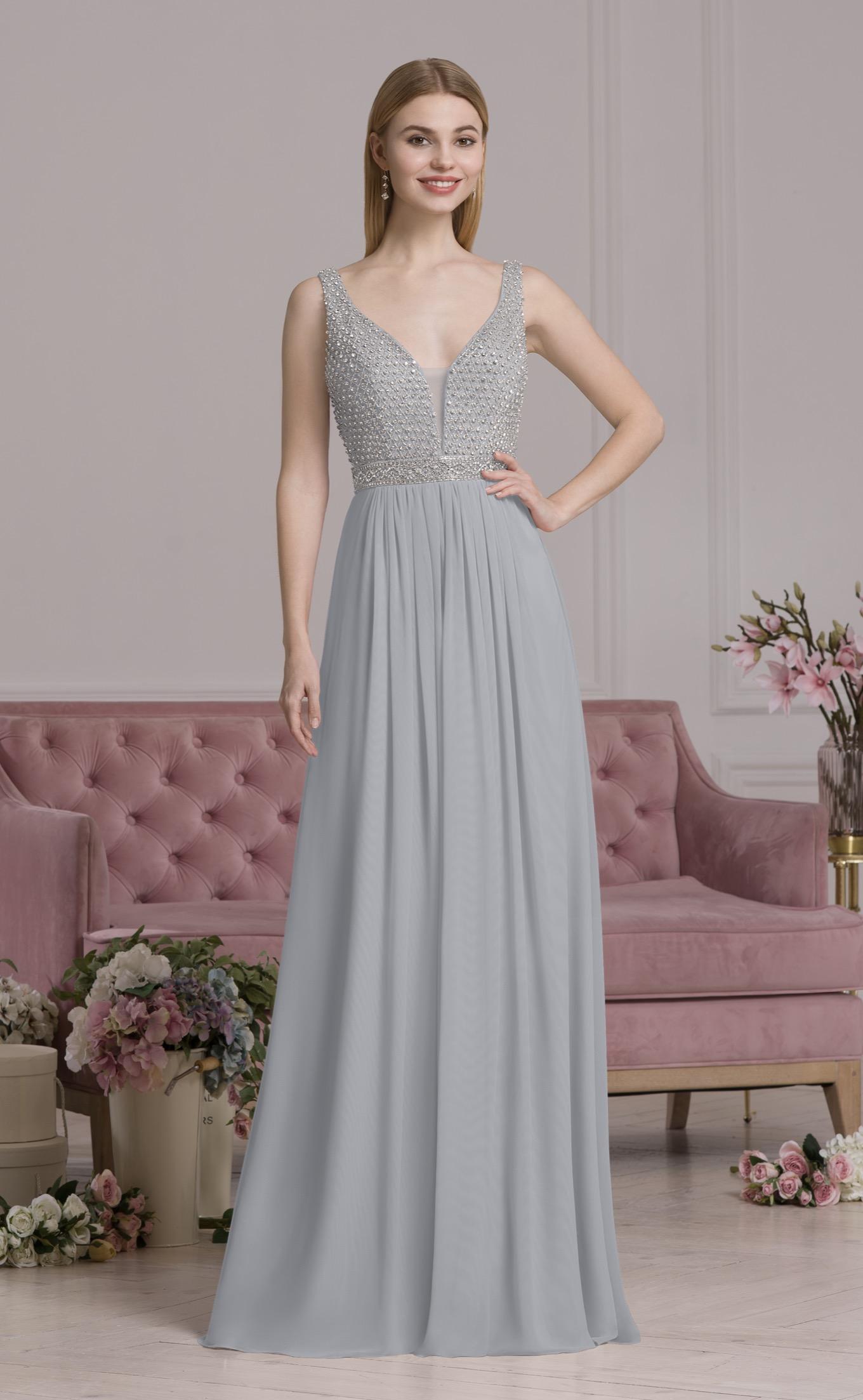 Reich verziertes Abendkleid silber | Samyra Fashion