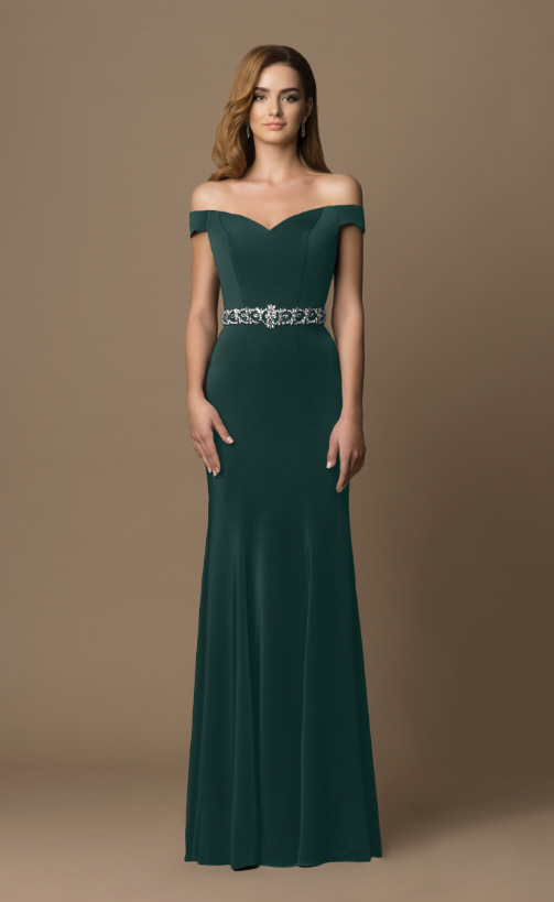 Elgantes Abend-/Ballkleid in dunkelgrün | Samyra Fashion