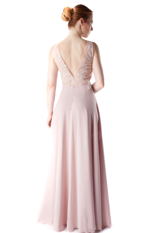 Designer-Abendkleid altrosa mit Spitze | Samyra Fashion