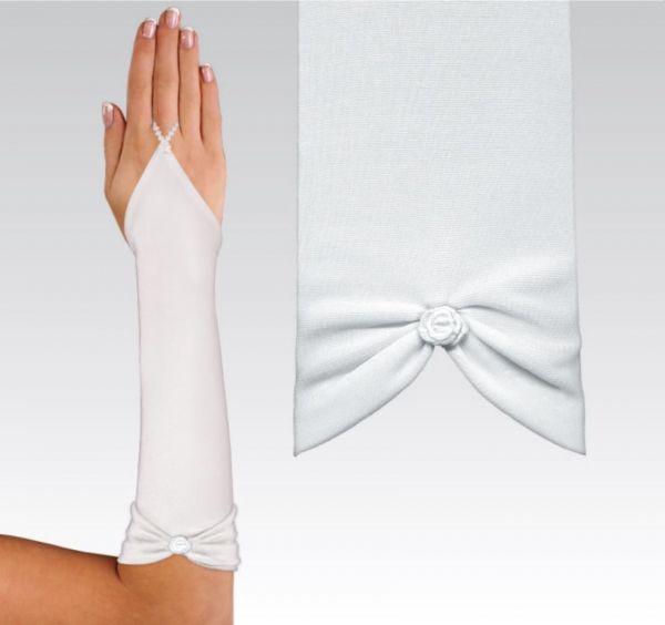 30 cm Handschuh aus mattem Satin (elfenbeinfarben)