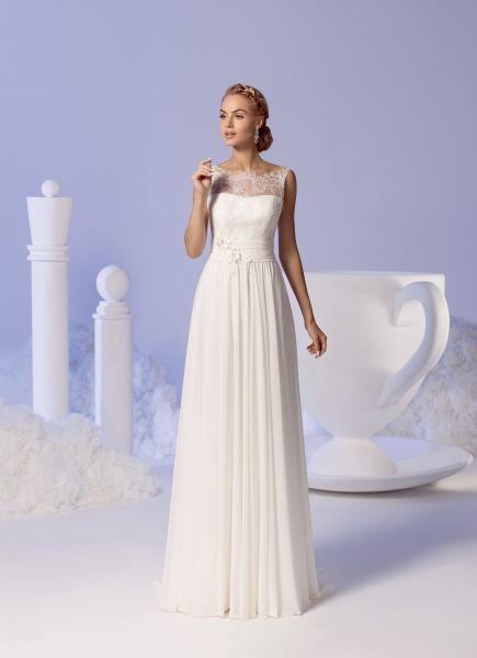 Brautkleid Edna aus Chiffon & Spitze (elfenbeinfarben)