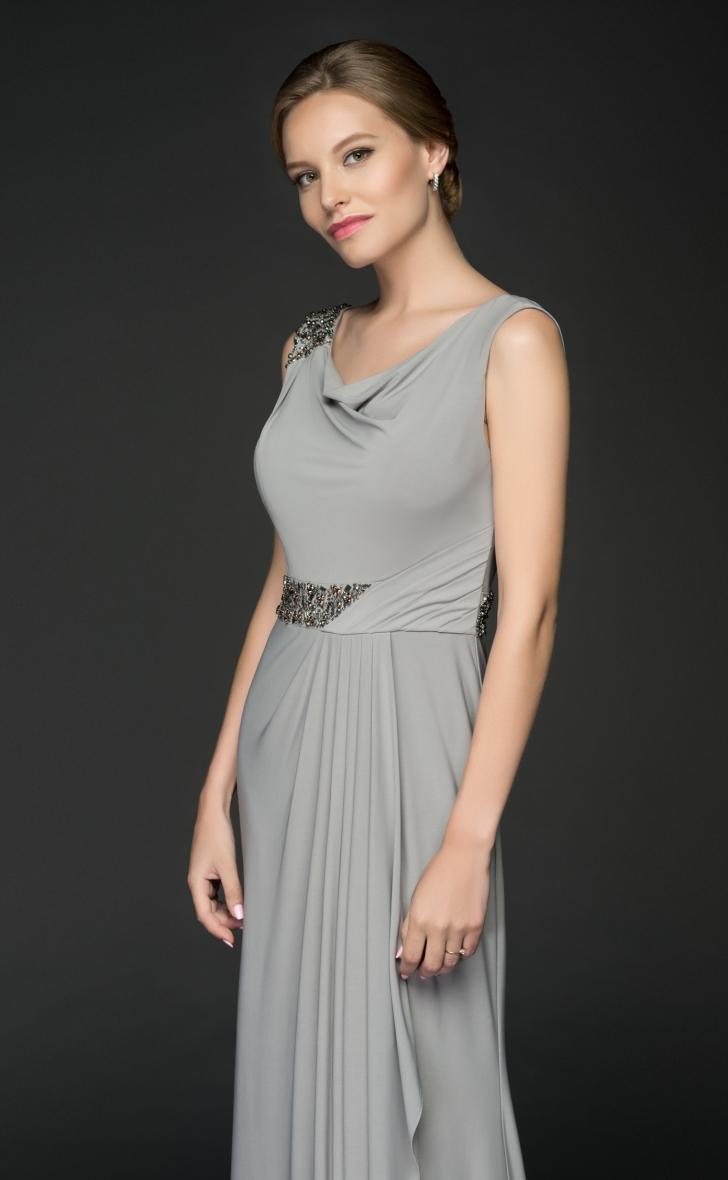 Abendkleid grau aus Jersey | Samyra Fashion