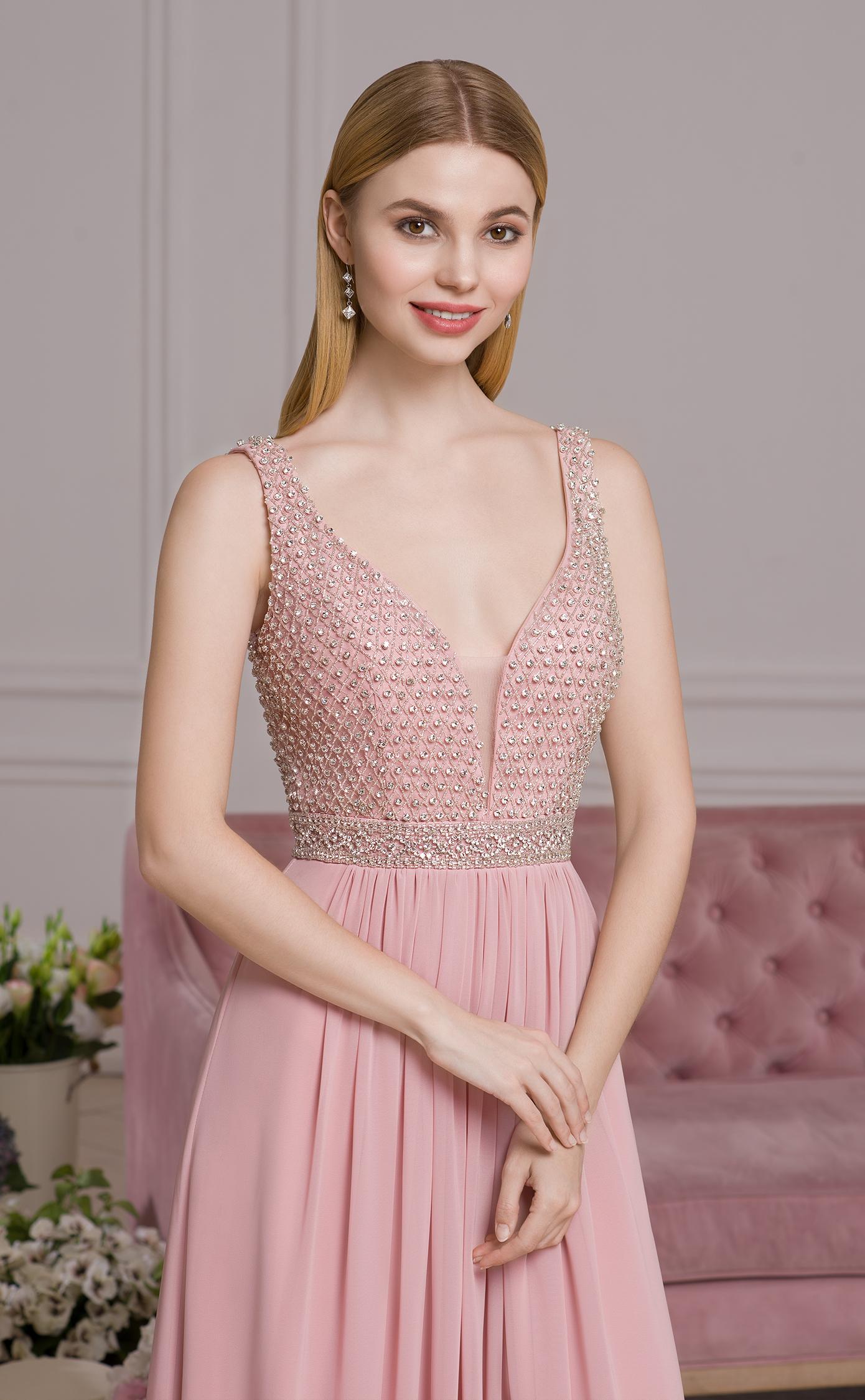 Reich verziertes Abendkleid altrosa | Samyra Fashion