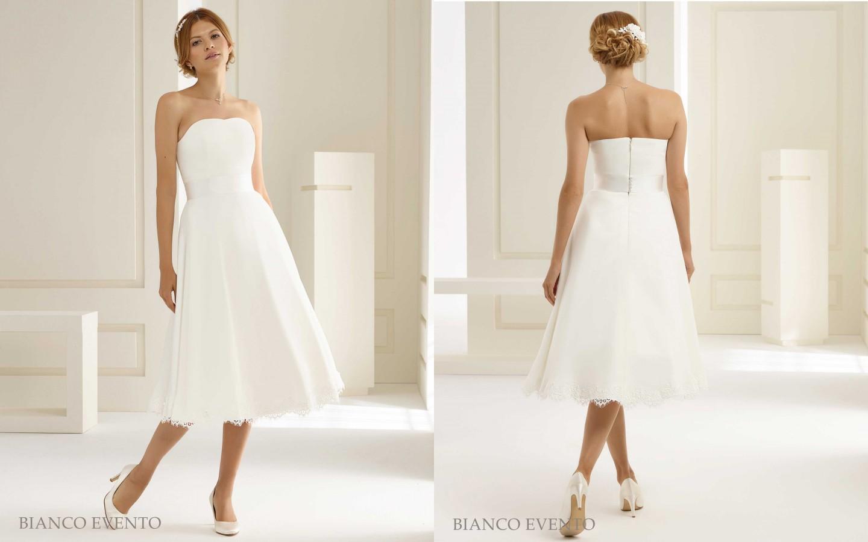 Kurzes Brautkleid aus Satin und Spitzen-Saum | Samyra Fashion ...