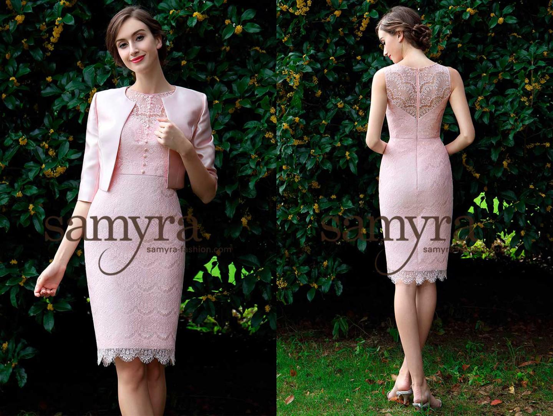 Cocktailkleid mint/rosa aus Spitze | Samyra Fashion - Preiswerte ...