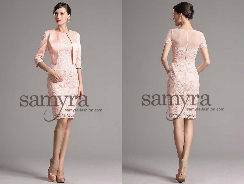 Cocktailkleid rosa aus Spitze mit Ärmeln | Samyra Fashion ...
