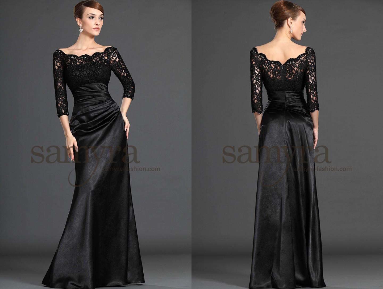 abendkleid schwarz mit spitzen rmeln samyra fashion. Black Bedroom Furniture Sets. Home Design Ideas