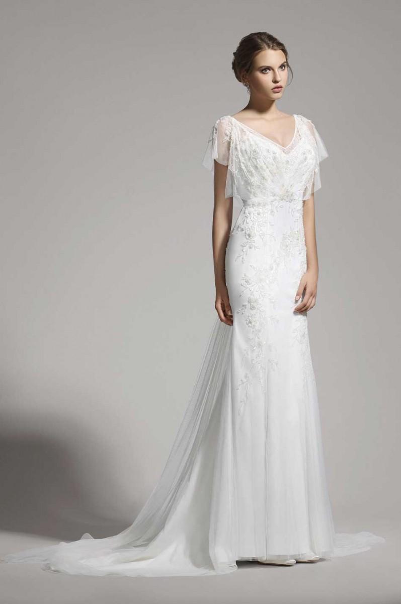 Brautkleid mit Ärmeln und V-Ausschnitt | Samyra Fashion - Preiswerte ...