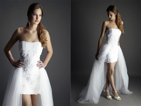 Kurzes Designer-Brautkleid mit Schleppe  Samyra Fashion - Preiswerte ...