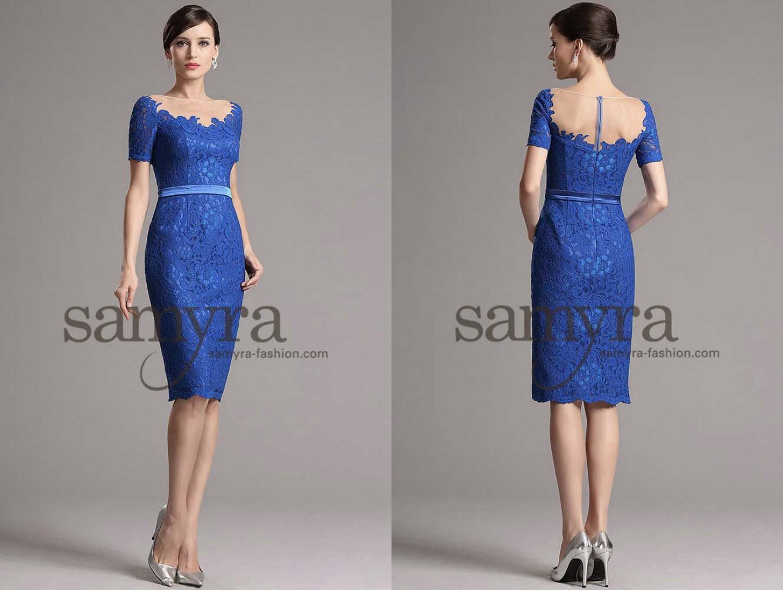 Cocktailkleid mit kurzen Ärmeln aus Spitze | Samyra Fashion ...